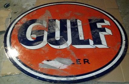 2 porcelain gulf dealer signs 850 EACH - Primarily